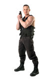 Special force. Man with tactical vest and gun isolated in white Stock Photos