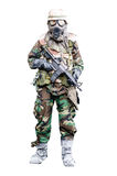 Special force soldier wearing gask mask with rifle  standing Stock Photo
