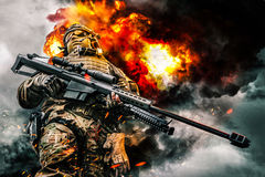 Special forces in action stock photography