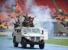 Special forces demonstrate training at  stadium Stock Images