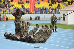 Special forces demonstrate training at  stadium Royalty Free Stock Images