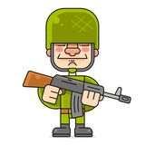 Special Forces In A Hard Hat. Vector Character On White Background