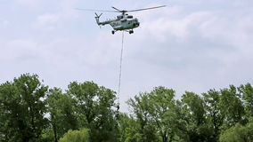 Special forces with a helicopter stock video footage