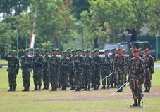 Special Forces (Kopassus) military from Indonesia. Special Forces (Kopassus) military personnel held a Memorial Day ceremony at their headquarters in Sukoharjo Royalty Free Stock Photos