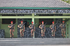 Special Forces (Kopassus) military from Indonesia. Special Forces (Kopassus) military personnel held a Memorial Day ceremony at their headquarters in Sukoharjo Royalty Free Stock Photo