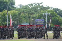 Special Forces (Kopassus) military from Indonesia. Special Forces (Kopassus) military personnel held a Memorial Day ceremony at their headquarters in Sukoharjo Stock Image