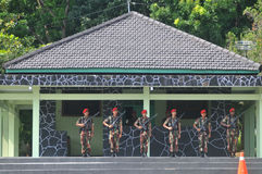 Special Forces (Kopassus) military from Indonesia. Special Forces (Kopassus) military personnel held a Memorial Day ceremony at their headquarters in Sukoharjo Stock Photo