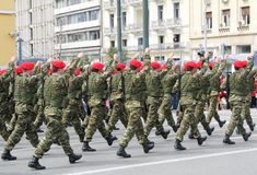 Special Forces Marching. A troop of special forces marching in a military parade stock image