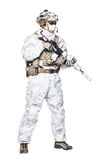Special forces operator in winter camo clothes stock photo