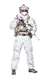 Special forces operator in winter camo clothes royalty free stock images