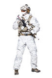 Special forces operator in winter camo clothes stock photos