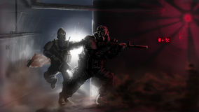 Special forces on a raid. Bang and clear! Go, go, go Royalty Free Stock Photos