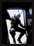 Special forces. Romanian army officer descending from plane