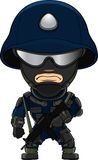 Special forces soldier. Cartoon  illustration of a formidable special forces soldier in night glasses, helmet and uniform Stock Photography