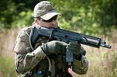 Special forces soldier aiming Stock Images