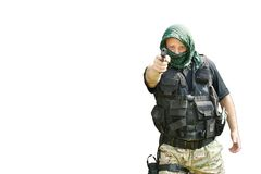 Special Forces soldier, armed terrorist Royalty Free Stock Image