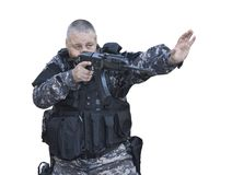 Special Forces soldier, with assault rifle Stock Images