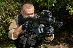 Special Forces soldier with an assault rifle Royalty Free Stock Image