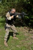 Special Forces soldier with an assault rifle Royalty Free Stock Images