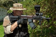 Special Forces soldier with an assault rifle Stock Image