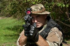 Special Forces soldier with an assault rifle Royalty Free Stock Photos