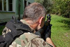 Special Forces soldier with an assault rifle Royalty Free Stock Photo