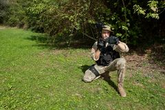 Special Forces soldier with an assault rifle. Sa.58 Royalty Free Stock Images