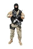 Special Forces soldier with an assault rifle. Sa.58, isolated on white Royalty Free Stock Photography