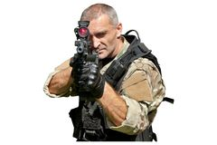 Special Forces soldier with an assault rifle Stock Photo
