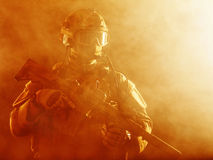 Special forces soldier in the fire Royalty Free Stock Photography