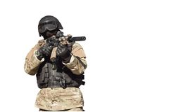 Special Forces soldier, isolated on white Stock Photo