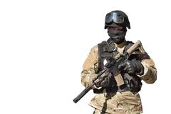 Special Forces soldier, isolated on white. Special Forces soldier, with assault rifle, isolated on white Royalty Free Stock Images