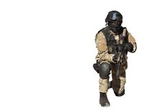 Special Forces soldier, isolated on white. Special Forces soldier, with assault rifle, isolated on white royalty free stock photos
