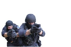 Special Forces soldier, isolated on white. Special Forces soldier, with assault rifle, police swat, isolated on white stock photography