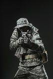 Special forces soldier man with Machine gun on a  dark background Royalty Free Stock Photos