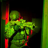 Special forces soldier during night mission Stock Photo