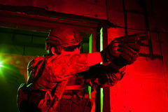 Special forces soldier during night mission Royalty Free Stock Image