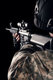 Special forces soldier with rifle on dark background Royalty Free Stock Photos