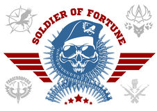 Special forces vector emblem with skull, ammunition and wings. Royalty Free Stock Photos