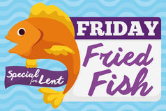 Special Fried Fish Menu for Friday in Lent Celebration, Vector Illustration. Promo design for special dish for Lent on Friday: fried fish Stock Photos