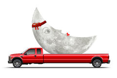 A special gift. Truck carrying the Moon with a red ribbon; The Moon as a gift Stock Photography