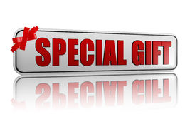 Special gift banner with ribbon Stock Photos
