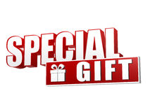 Special gift with present box sign in 3d letters and block Royalty Free Stock Photo