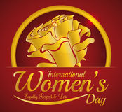Special Golden Rose for all the Women in their Day, Vector Illustration stock image