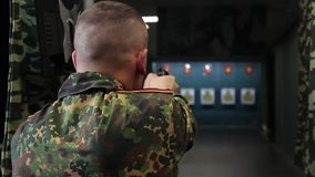 Special guard training. In shooting stock video