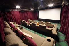 Special hall with soft sofas in cinema Stock Images