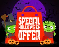 Special Halloween offer design background with kids Stock Photo