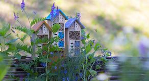 Special house for useful garden insects, built of natural materials. Creates natural conditions for maintaining the royalty free stock photo