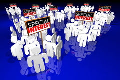 Special Interest Groups Signs People Lobbyists Politics Stock Photo