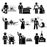 Special Jobs Occupations Careers. A set of people pictogram representing job profession in various industry. They are lifeguard, casino dealer, tattoo artist Stock Photos